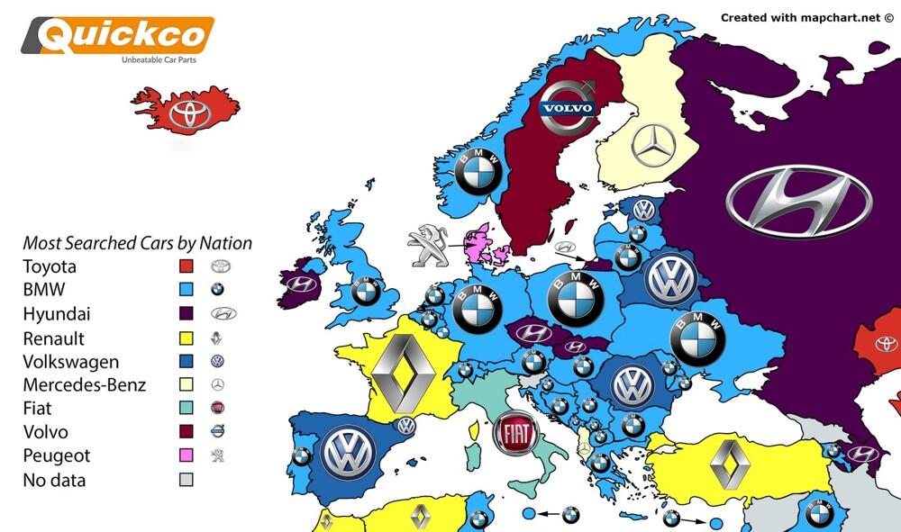 Какие марки авто впервую очередь «гуглят» в различных государствах мира
