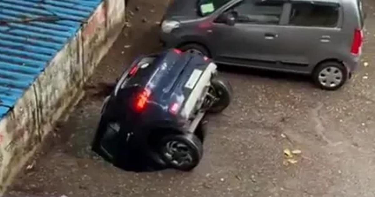 Автомобиль «засосало» под землю на парковке (видео) - автоновости